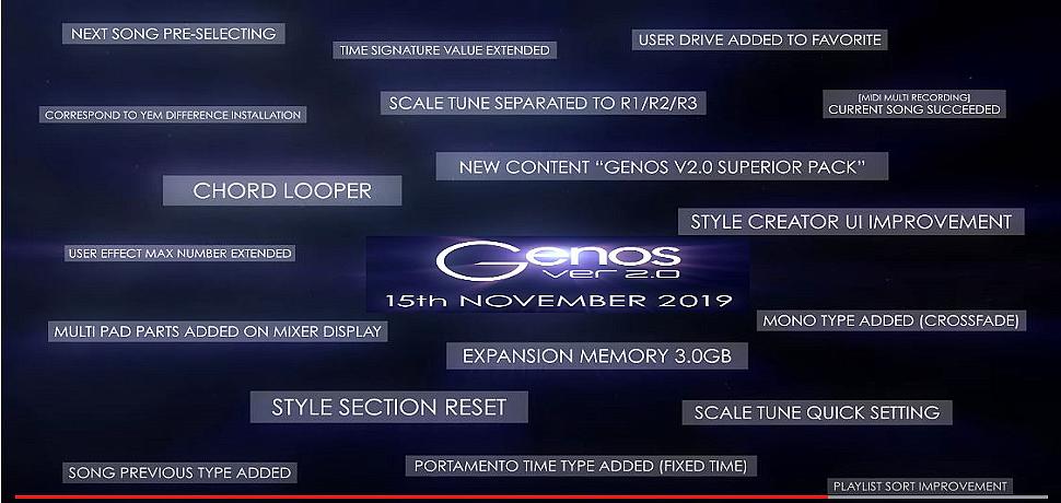 Yamaha Genos V 2.0 15th November 2019