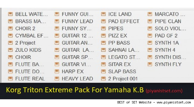 Yamaha Keyboards - Korg Triton Extreme .PPF and .PPI Sound Pack v1 - Buradan Bedava İndir - Free Download Here