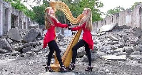 "HARP TWINS (2 girls One Harp) HARP METAL ""one"""